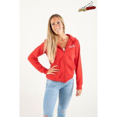 DogTech - Piros, M-méretű, női cipzáras pulóver