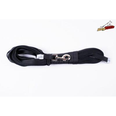 DogTech - Fogó nélküli, fekete, 10 m, textil kutyapóráz