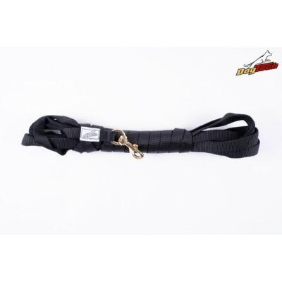 DogTech - Fogó nélküli, réz karabíneres, fekete, 3 méter, textil kutyapóráz