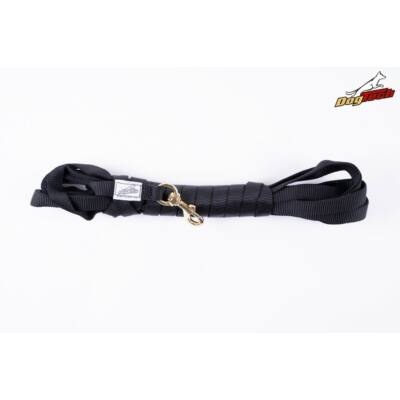 DogTech - Fogós, réz karabíneres, fekete, 5 méter, textil kutyapóráz