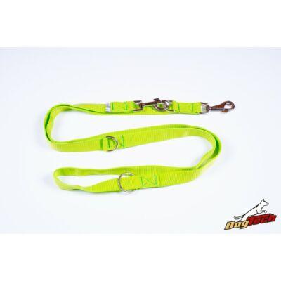 DogTech - Neonzöld, 20 mm/200 cm, állítható, textil kiképzőpóráz