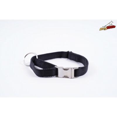DogTech - fekete, fém csattos, 25 mm szélességű, textil kutyanyakörv