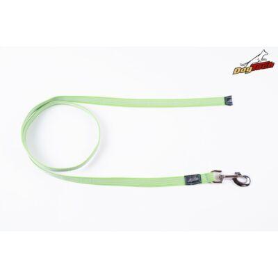 DogTech - Fogó nélküli, zöld, 20 mm/150 cm, gumis textil kutyapóráz