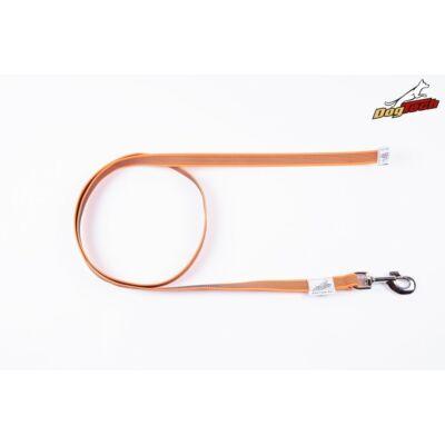 DogTech - Fogó nélküli, narancssárga, 20 mm/150 cm, gumis textil kutyapóráz