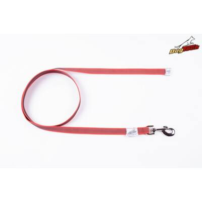 DogTech - Fogó nélküli, piros, 20 mm/2 m, gumis textil kutyapóráz