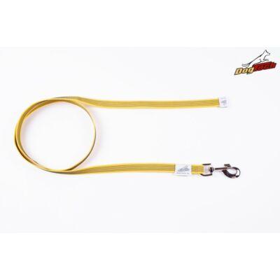 DogTech - Fogó nélküli, sárga, 20 mm/2 m, gumis textil kutyapóráz