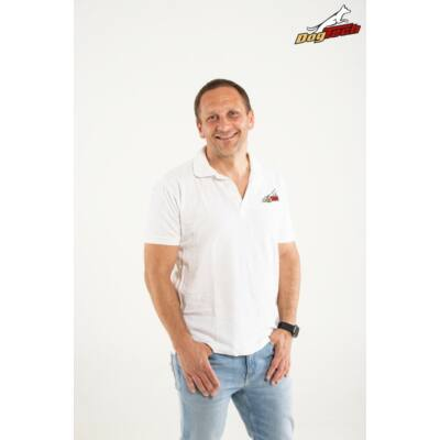 DogTech - Fehér, S-méretű, galléros férfi póló