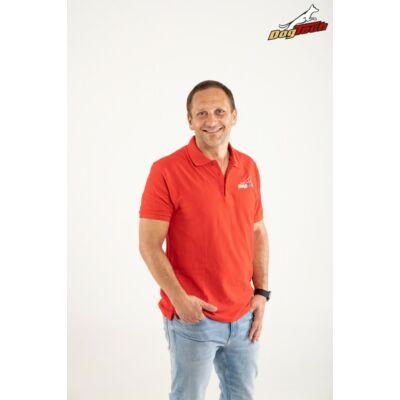 DogTech - Piros, M-méretű, galléros férfi póló