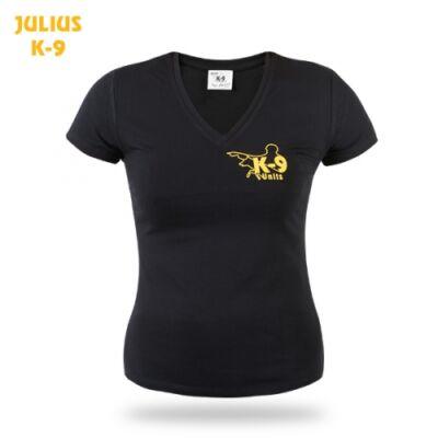 K9 Női V-nyakú rövid ujjú póló, fekete - méret: M