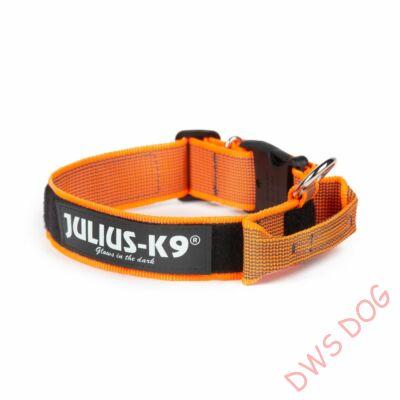 K9 textil fogós nyakörv feliratmezővel - 50 mm széles, színe narancs