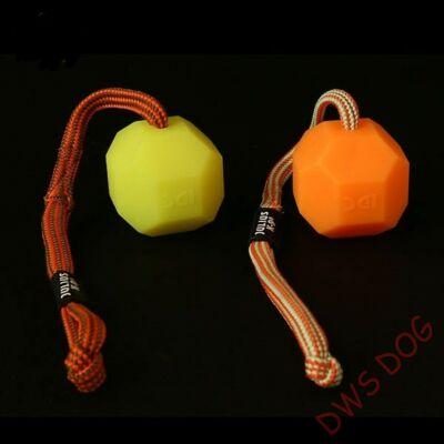 Fluoreszkáló zsinóros, narancs színű apportlabda (puhább kivitel), 6 cm átmérő, kutyajáték