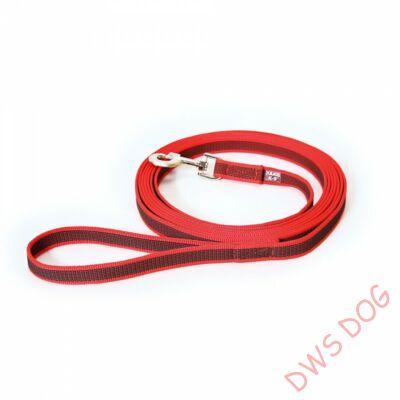 C&G piros, 14 mm széles, 3 m, fogós kutyapóráz