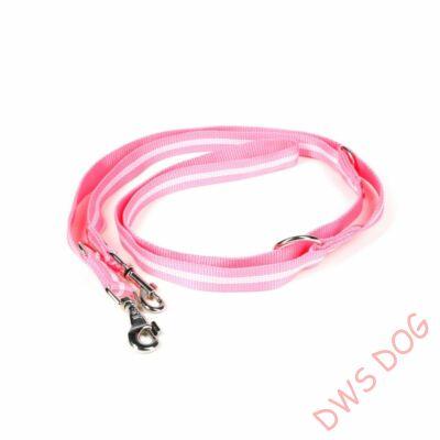 IDC csőheveder pink, 14 mm széles,  2,2 m hosszú, állítható kutyapóráz