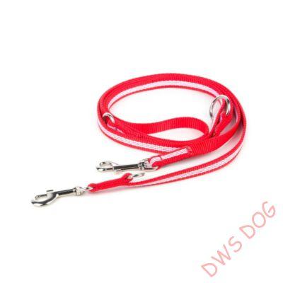 IDC csőheveder piros, 14 mm széles,  2,2 m hosszú, állítható kutyapóráz