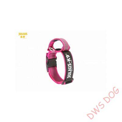 K9 textil fogós nyakörv feliratmezővel - 50 mm széles, színe pink