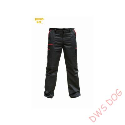K9 pamut nadrág, fekete-piros, cipzározható szárral - impregnált, - méret 62