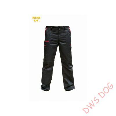 K9 pamut nadrág, fekete-piros, cipzározható szárral - impregnált, - méret 56