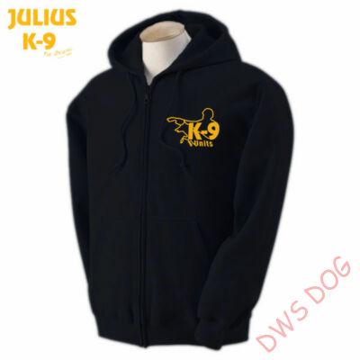 K9 cipzáras kapucnis pulóver, fekete - méret: S (-től)