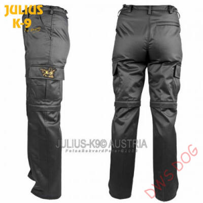 K9 pamut nadrág, cipzározható szárral - impregnált, fekete / méret 36