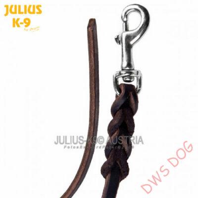 JULIUS-K9, 10 mm szélességű, 2 m hosszú fogó nélküli, fonott bőr kutyapóráz
